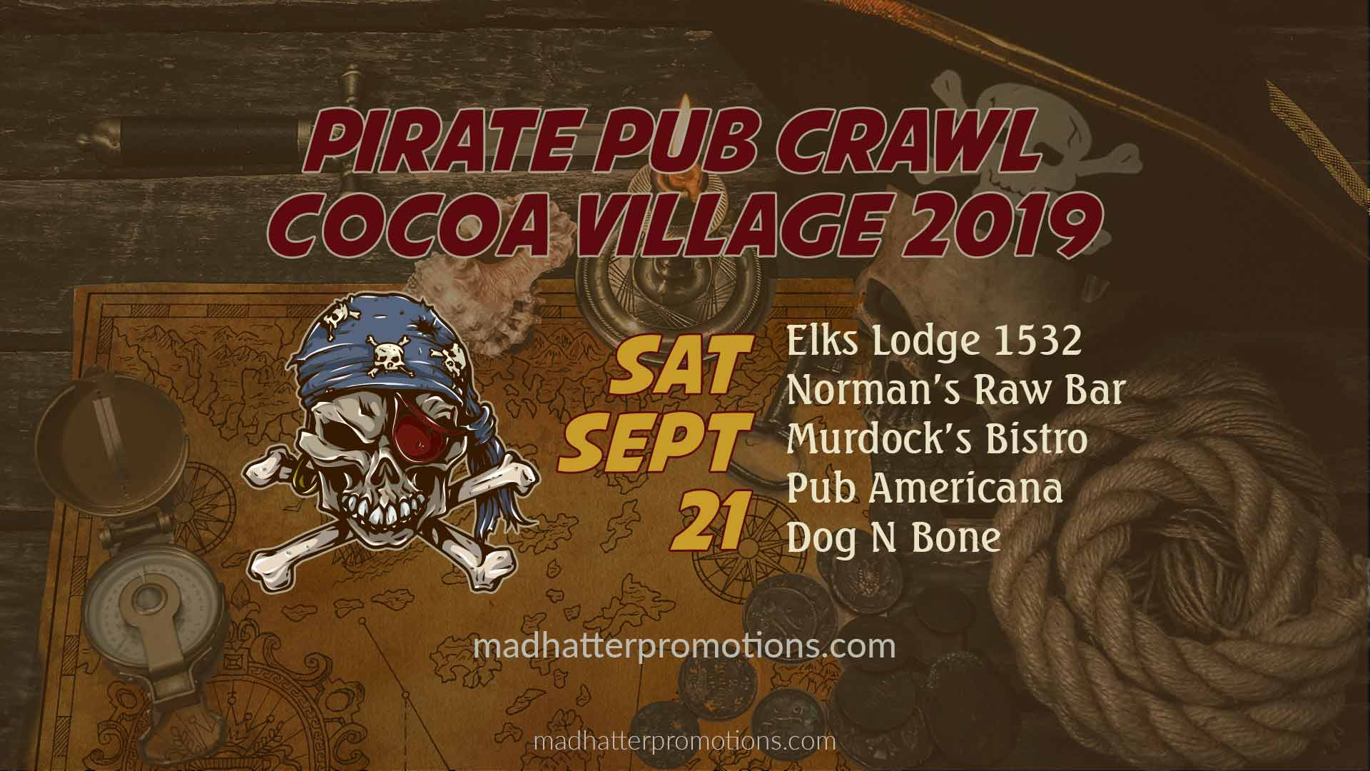 Pirate Pub Crawl Pirate Invasion Cocoa Village 2019, Saturday, September 21, beginning at 6 pm