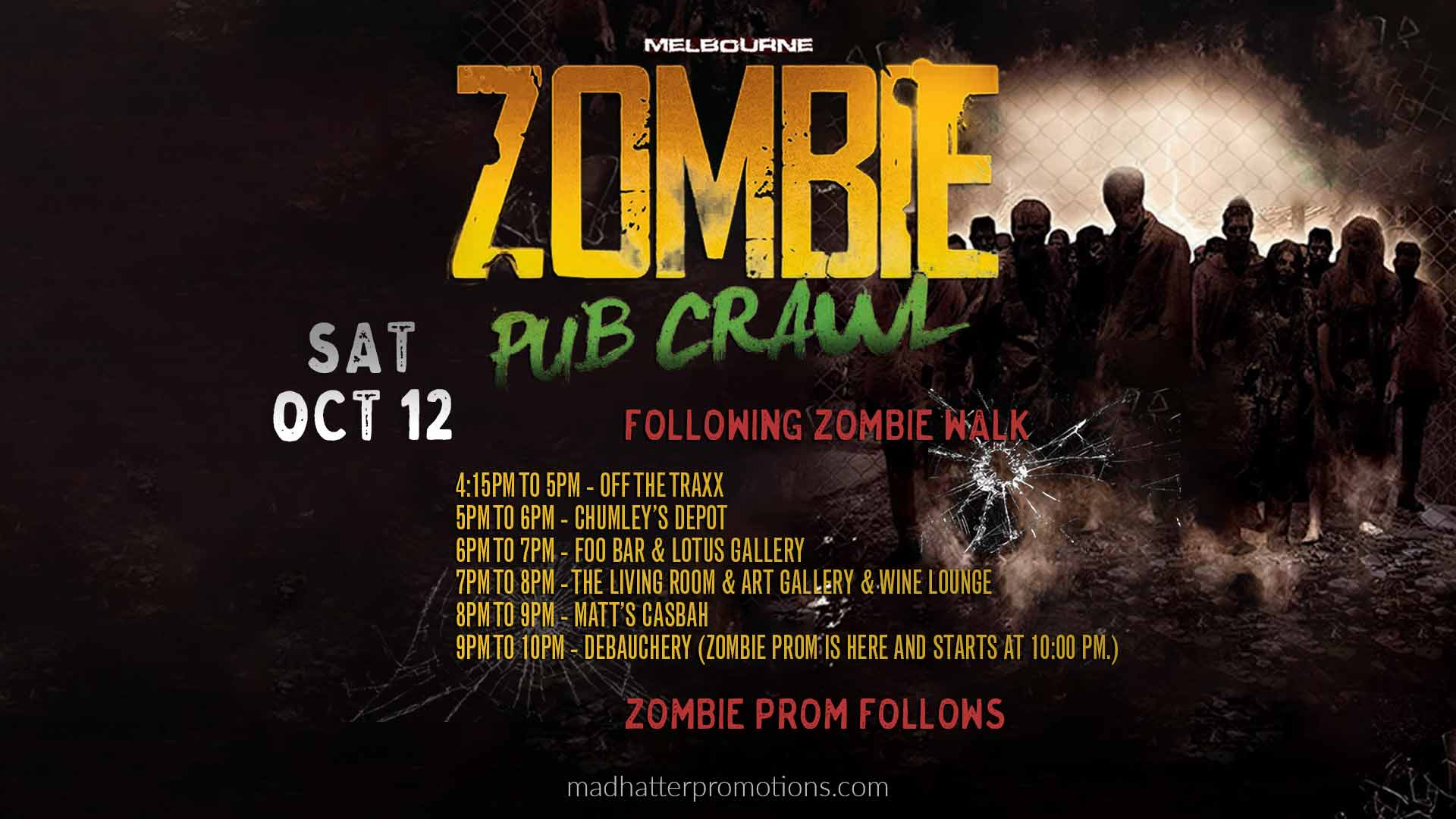 2019 Zombie Halloween Pub Crawl and Prom Downtown Melbourne